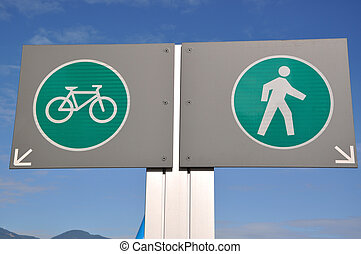 Pedestrian and bicycle road sign