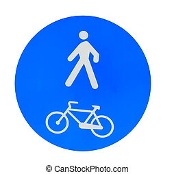 pedestrian and bike lane sign on white