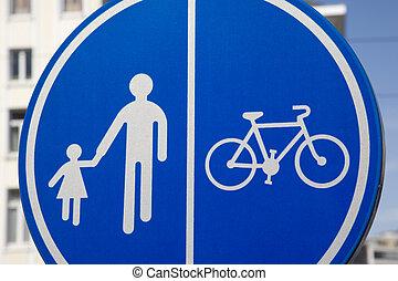 Pedestrian and Bike Lane Sign