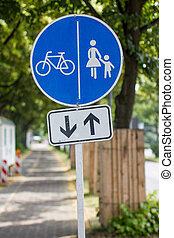 pedestrian and cycle route sign