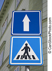 Pedestrian and One Way Sign