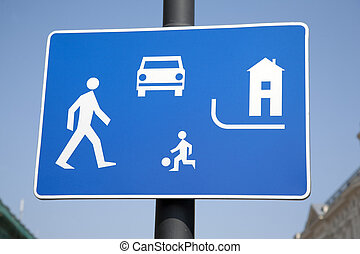 Pedestrian Area Sign in Urban Setting