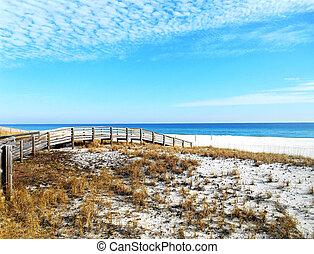 Pedestrian bridge across the dunes for easy access to the beach.