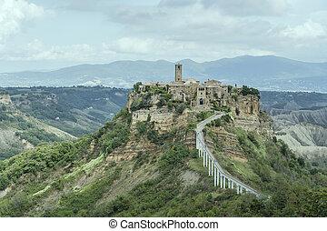 pedestrian bridge at Civita di Bagnoregio hilltop village, Viterbo, Italy