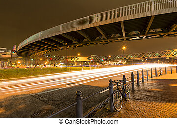 Pedestrian bridge at night