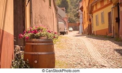 Pedestrian Bridge - Barrel, flowers and cobble stone street...