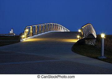 Pedestrian bridge by the Lakefront in Milwaukee