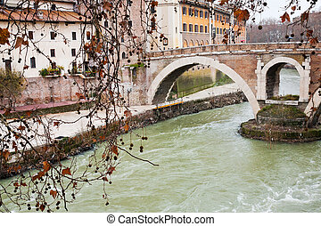 pedestrian bridge over Tiber river in Rome, Italy