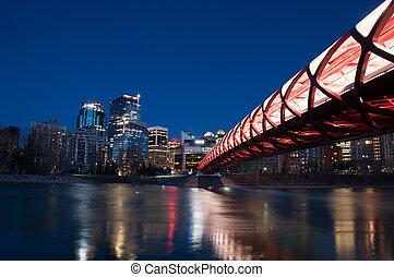 The Peace Bridge in Calgary, Alberta Canada. The pedestrian bridge spans the Bow River