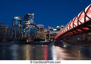 Pedestrian Bridge - The Peace Bridge in Calgary, Alberta ...