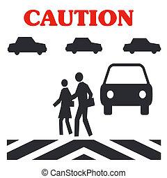 pedestrian caution - caution crossing in traffic pedestrian...