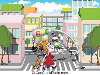 Pedestrian Crossing - Traffic light helps girl to cross the...