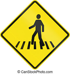 Pedestrian Crossing In Chile - Chilean road warning sign:...