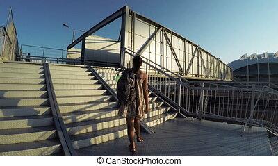 Pedestrian crossing in Olympic Park - Camera on steadicam...