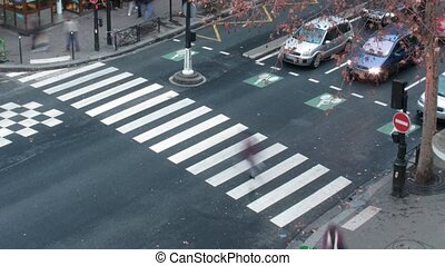 Pedestrian crossing in the centre of Paris, the top view, ...