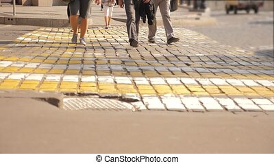 pedestrian crossing in the modern city. pedestrians slow...