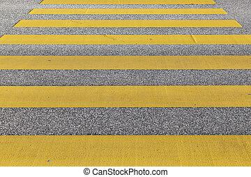 pedestrian crossing in yellow