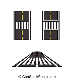 Pedestrian crossing on road top and perspective view vector illustration