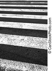 Pedestrian crossing on the road.