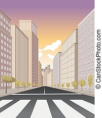Pedestrian crossing on the street of downtown city with...