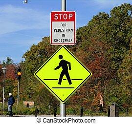 Pedestrian crossing. - Pedestrian Walking Sign.
