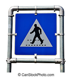 Pedestrian crossing road sign isolated over white background.