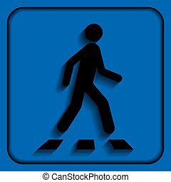 Pedestrian crossing sign. Crosswalk flat icon, isolated on...