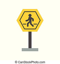 Pedestrian crossing sign icon, flat design