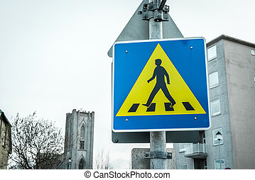 Pedestrian crossing sign in a big city