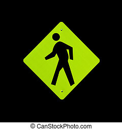 Pedestrian crossing sign on black background - A bright ...