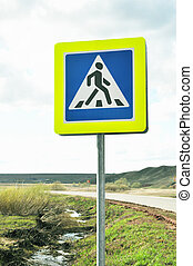 Pedestrian Crossing Sign on road