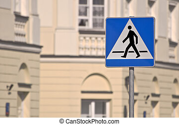 Pedestrian crossing sign.