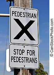 Pedestrian crossing sign - Traffic sign: give way to ...