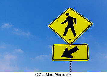 Pedestrian crossing street sign