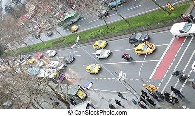 pedestrian crossing urban street time lapse