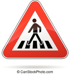 pedestrian crossing warning sign