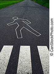 Pedestrian crossing with road markings after traffic accident