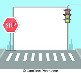 Pedestrian Crossing with Stop Sign, Traffic Lights
