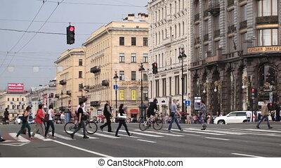 Pedestrian crosswalks on the Nevsky Avenue. -...