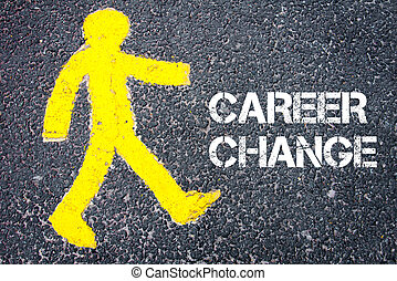 Pedestrian figure walking towards CAREER CHANGE