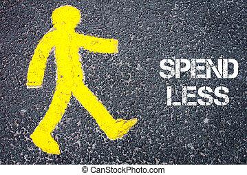 Pedestrian figure walking towards SPEND LESS