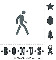 Pedestrian flat icon - Pedestrian. Simple flat symbol icon ...