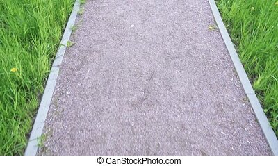 Pedestrian gravel path in a city park