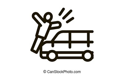 pedestrian hit by car Icon Animation. black pedestrian hit by car animated icon on white background