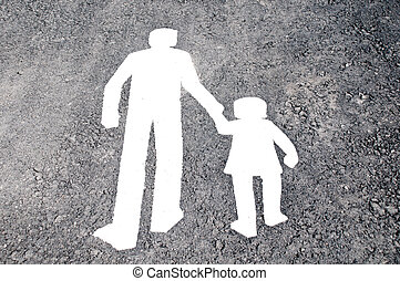 pedestrian lane sign with depicted parent and child walking ...