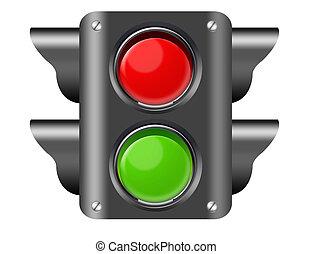 pedestrian light - black, red and green pedestrian ligt...