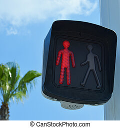 pedestrian light with a red man