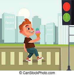 Pedestrian little boy character. Vector flat cartoon illustration
