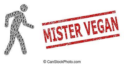 Pedestrian Mosaic of Pedestrian Items and Textured Mister Vegan Stamp