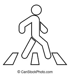 Pedestrian on zebra crossing icon black color illustration flat style simple image